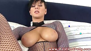 6:46: Busty solo babe pounded and ready to suck