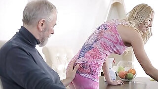 5:00: Crazy old guy fucks her young amateur girl