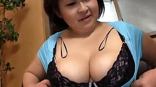 5:00: Fat Japanese woman gives titjob and sucks my dick