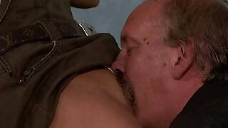 6:00: He leaves and old dad licks and fucks his GF pussy