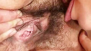 6:00: Extremely hirsute amateur matured Hedvika lesbian action
