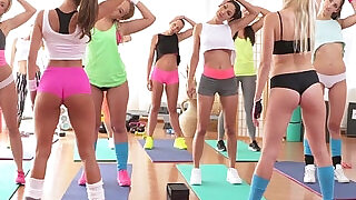 12:00: Fitness Rooms Big boobs lesbians have rampant gym threesome