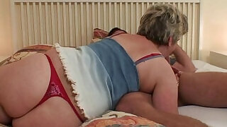 6:00: Horny granny seduces him but wife finds out!