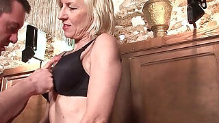36:00: Sexy blonde amateur french mature deep analized with cum mouth in a bar