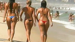 5:00: Sexy thong booty and Italian beach dancers