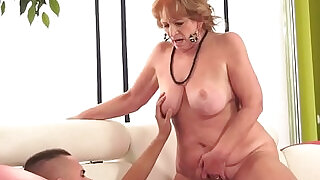 6:00: Chubby granny sucking on a cock riding it