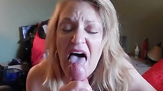 1:07: old bitch sucking cock liking the head blowjob tongue