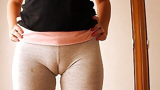 1:30: Big Cameltoe Teen In Yoga Pants, Stretching and Working Out!