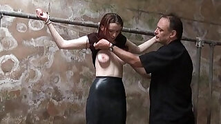 5:00: Filthy slaveslut whipping and dirty dungeon tortures of breast spanked amateur