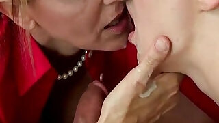 Mom And StepDaughter Giving Teen Boy Blowjob During Appealing - 1:20