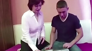 Hairy Mother Seduce Step Son to Fuck when Dad away - 13:00