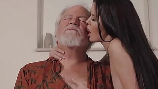 10:00: Teen Interrupts Grandpa from Yoga And Sucks big Cock wet and hard