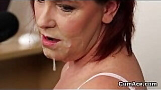 Wicked looker gets jizz shot on her face swallowing all the love juice - 5:07