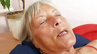 Ugly grandma Cecilie toys her hairy pussy - 5:00