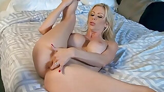 6:00: Busty MILF is so horny she fucks her pussy with the bellboy in a hotel