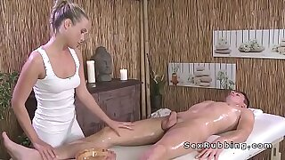 7:03: Blonde gives a head and a thai massage